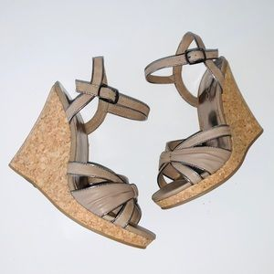ALDO TAUPE CORK WEDGE SANDALS SIZE 38 NWT